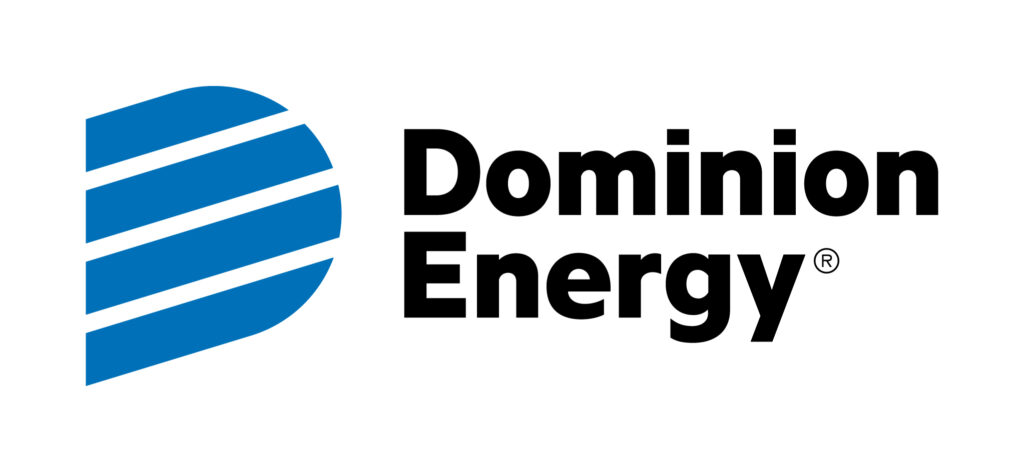 Four blue lines that form the letter D next to Dominion Energy.