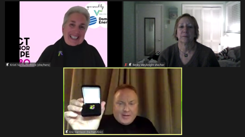 Zoom video screenshot with three videos displayed side-by-side.  Eric Garrison holds up his Lifetime Member pin while Kristi VanAudenhove and Becky Weybright look on.