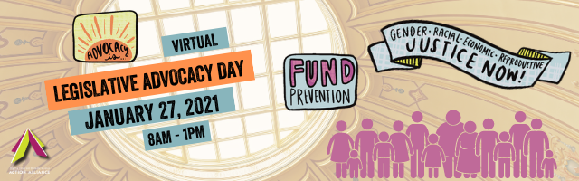 """Skylight of Virginia capital building in the background with hand-drawn stickers in foreground that say """"advocacy is..."""", """"fund prevention"""", and """"Gender, racial, economic, and reproductive justice now."""
