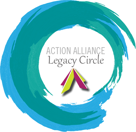 A light blue painted circle overlaid with green painted circle with the words Action Alliance Legacy Circle in the center of the circle with the Action Alliance logo in lime and raspberry.