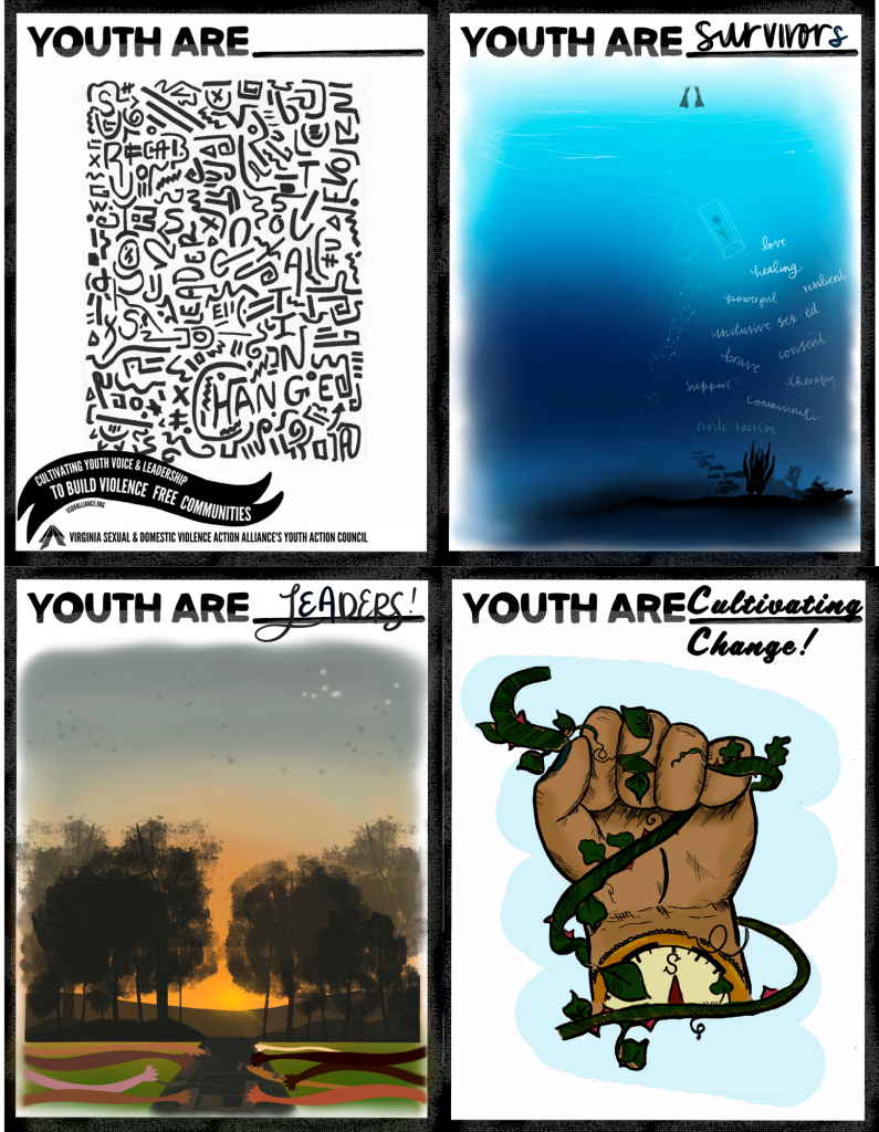 A four-image collage: the cover art for Youth Are Curriculum in the top left; You Are survivors with blue underwater scene in the top right; bottom right is Youth Are Cultivating Change with a fist holding a vine; and bottom left with Youth Are leaders and a sunset on trees with hands building a road together.