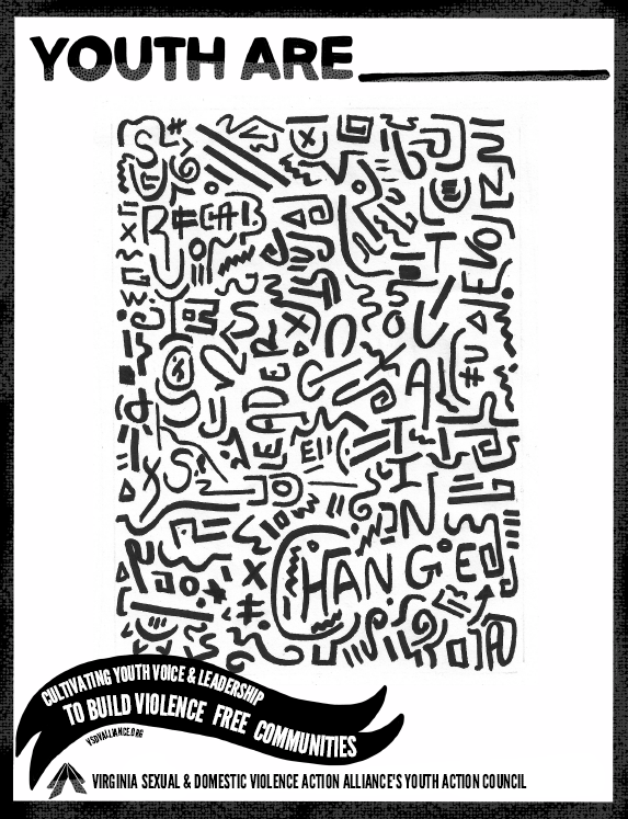 Youth Are Curriculum Cover in black and white with words in a stylized jumble of squiggles.